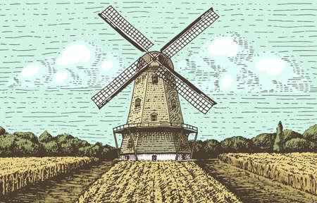 Windmill landscape in vintage retro hand drawn style.