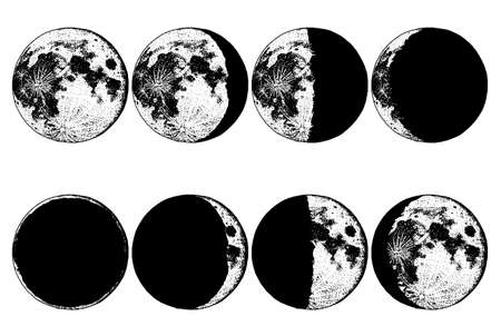 Moon phases planets in solar system. astrology or astronomical galaxy space. orbit or circle. Stock Illustratie