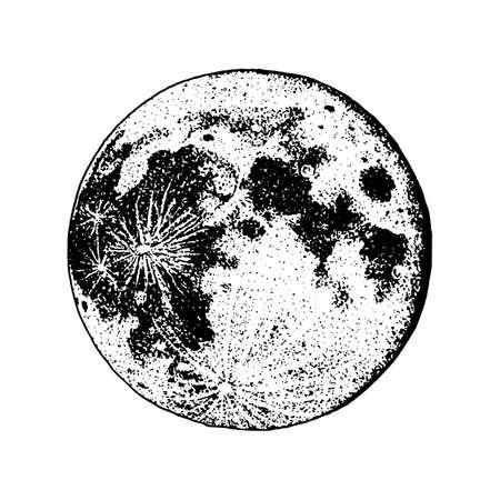 planetas no sistema solar. Lua e astrologia. espaço astronômico das galáxias. órbita ou círculo. gravado desenhado a mão no esboço antigo, estilo vintage para o rótulo