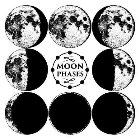 Moon phases planets in solar system. astrology or astronomical galaxy space. orbit or circle. engraved hand drawn in old sketch, vintage style for label