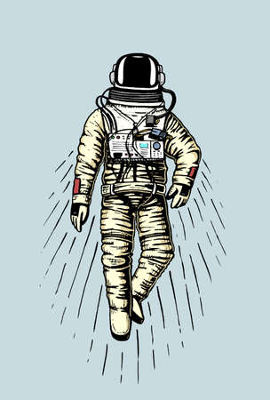 astronaut spaceman. planets in solar system. astronomical galaxy space. cosmonaut explore adventure. engraved hand drawn in old sketch, vintage style for label or T-shirt. Stock Photo
