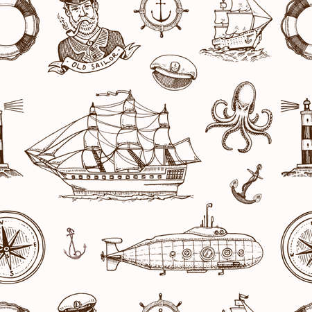 Marine and nautical or sea, ocean emblems. seamless pattern. set of engraved vintage, hand drawn, old, labels or badges for a life ring, a cannon ball, a captain seagoing ship Illustration