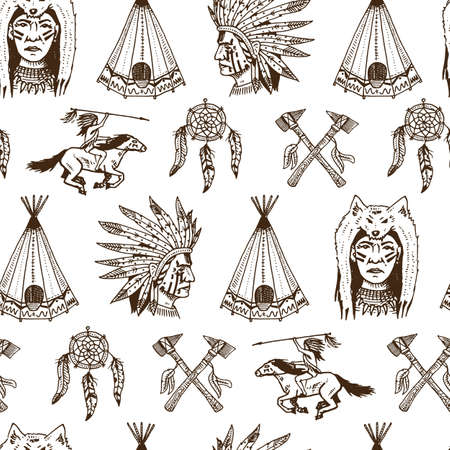 Indian Or Native American Seamless Pattern Axes And Tent Dream Extraordinary Cherokee Indian Dream Catcher