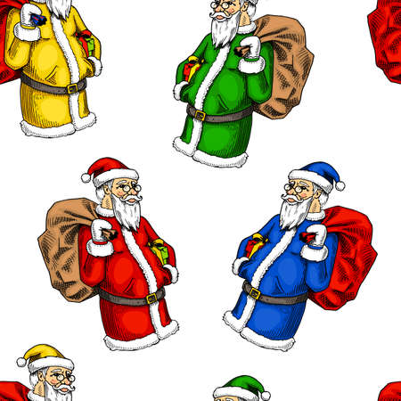 seamless pattern Santa Claus. Merry Christmas or xmas, New Year. winter holiday decoration. engraved hand drawn in old sketch and vintage style. grandfather frost. Illustration