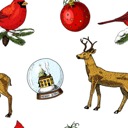 Patter of Christmas related items. Illustration