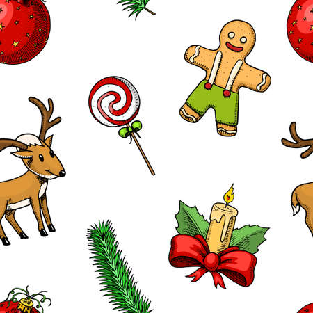 seamless pattern Merry Christmas xmas New Year. winter holiday decoration candle and holly lollipop, spruce branch and and gingerbread. engraved hand drawn in old sketch. vintage style for background Ilustração