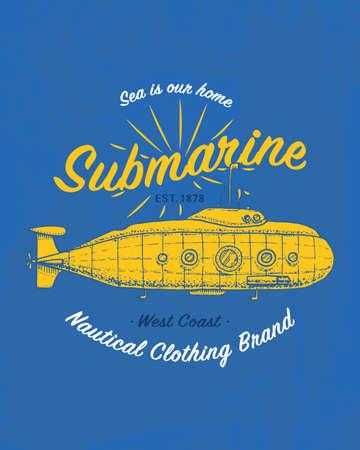 파란색 그림에서 노란 잠수함입니다. 일러스트