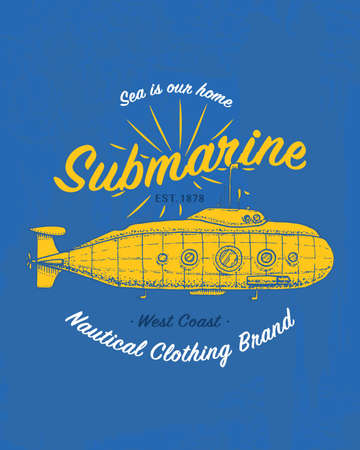 Yellow submarine in blue illustration.