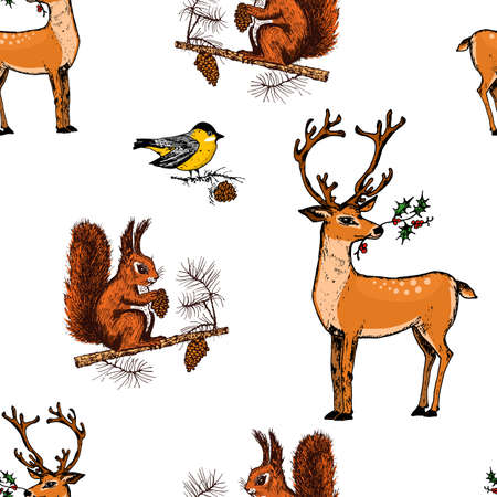 seamless pattern deer, squirrel and Christmas animals. New Year penguin and bird cardinal or tit in the forest. winter holidays. engraved hand drawn in old sketch and vintage style for postcards