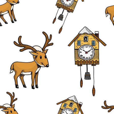 seamless pattern cuckoo clock, deer. Merry Christmas or xmas, New Year Collection. winter holiday decoration. engraved hand drawn in old sketch and vintage style