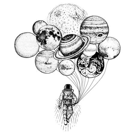 Astronaut spaceman. Planets in solar system. astronomical galaxy space. cosmonaut explore adventure. engraved hand drawn in old sketch. moon and the sun. 일러스트
