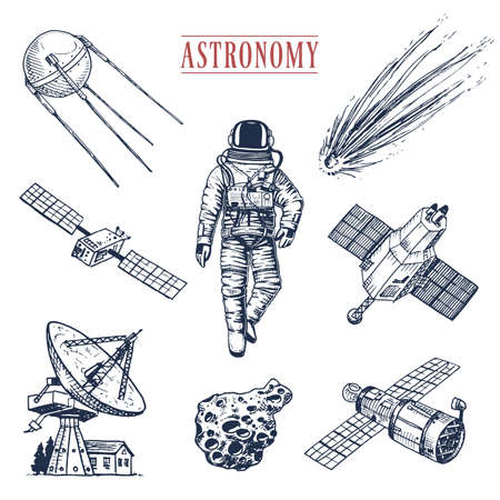 astronaut spaceman. planets in solar system. astronomical galaxy. cosmonaut explore adventure. engraved hand drawn in old sketch, vintage style. space shuttle, radio telescope and cometand meteorite. Stock Photo