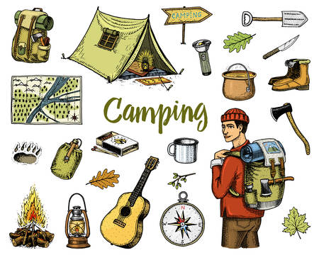 camping equipment set, outdoor adventure, hiking. Traveling man with luggage. tourism trip. engraved hand drawn in old sketch, vintage style. guitar and bear step, map and pointer. backpack and tent Stock Illustratie