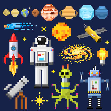 Set of space stars, alien spaceman, robot rocket and satellite cubes solar system planets pixel art, digital vintage game style. Mercury, Venus, Earth, Mars, Jupiter, Saturn. icons composition