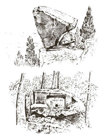 ancient cave. prehistoric house of wood or stone rock with the remains of a man. forest landscape. habitat of pristine civilizations. close up. engraved hand drawn in old sketch, vintage style Stock Illustratie