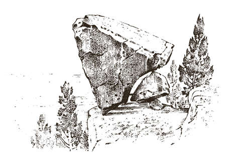 ancient cave. prehistoric house of wood or stone rock with the remains of a man. forest landscape. habitat of pristine civilizations. close up. engraved hand drawn in old sketch, vintage style Illustration