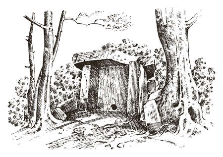 Ancient cave prehistoric house of wood or stone rock with the remains of a man. forest landscape. habitat of pristine civilizations. close up. engraved hand drawn in old sketch, vintage style Illustration