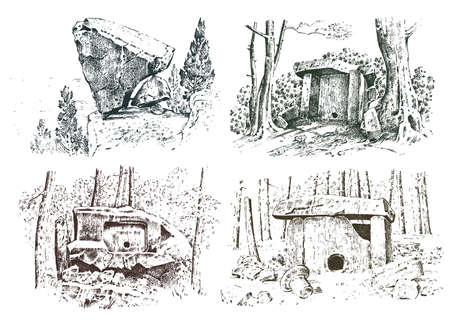 Prehistoric house of wood or stone rock with the remains of a man. forest landscape. habitat of pristine civilizations. close up. engraved hand drawn in old sketch, vintage style