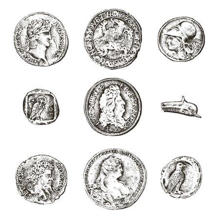 Stel oude munten of geld in. Romeinse en Griekse contante beloning. gegraveerde hand getrokken in oude schets, vintage stijl