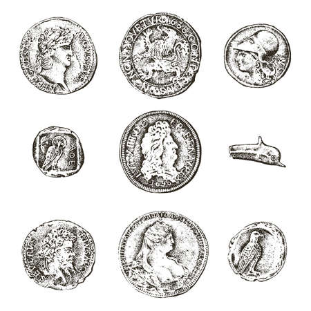 Set ancient coins or money. roman and greek cash reward. engraved hand drawn in old sketch, vintage style Illustration