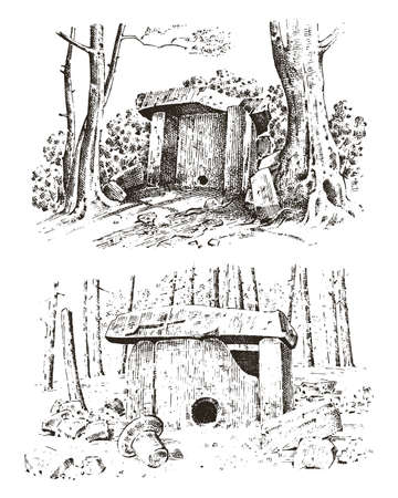 ancient cave. prehistoric house of wood or stone rock with the remains of a man. forest landscape. habitat of pristine civilizations. close up. engraved hand drawn in old sketch, vintage style.