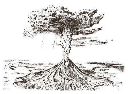 Volcán actividad grabada mano dibujada en viejo boceto, estilo vintage Ilustración de vector