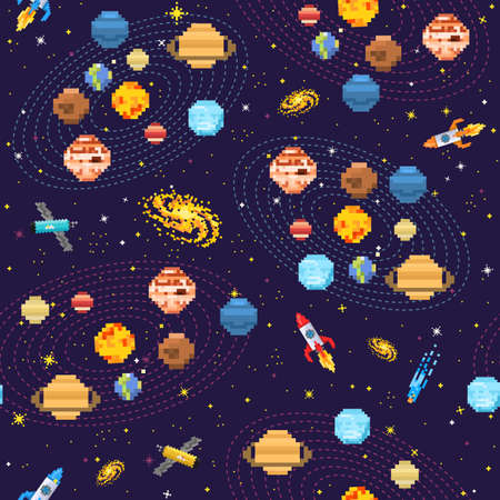 Space seamless pattern background, alien spaceman, robot rocket and satellite cubes solar system planets pixel art, digital vintage game style. Mercury, Venus, Earth, Mars, Jupiter, Saturn. Vettoriali