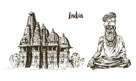 India religious symbols. Illustration