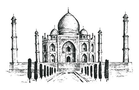 Taj Mahal an ancient Palace in India. landmark or architecture, hindu Temple. Ilustração