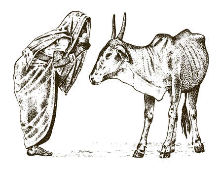 Hindu monk with a sacred Indo-Aryan cow in India. traditional animal. engraved hand drawn in old sketch, vintage style Çizim