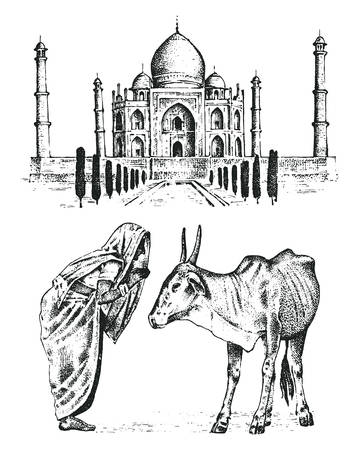 Taj Mahal an ancient Palace in India, monk with cow. Illustration
