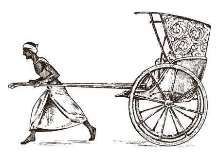 Hinduski rolnik z rikszą, pracujący z wózkiem dla pasażerów w Indiach. grawerowane ręcznie rysowane w starym szkicu, styl vintage. Kalkuta