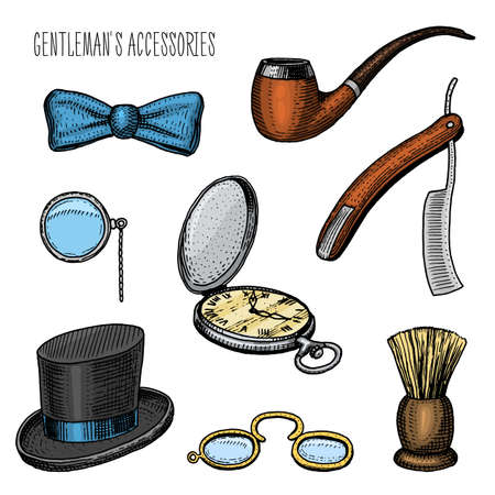 gentleman accessories. hipster or businessman, victorian era. engraved hand drawn in old vintage sketch. cylinder hat, smoking pipe, straight razor, monocle, pince-nez, shaving brush, butterfly tie
