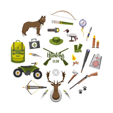 camping trip equipment collection. accessories and base camp. hike outdoor adventure elements. tourism, engraved hand drawn in old sketch, vintage style. backpack and lantern, tent and deer and gun Illustration