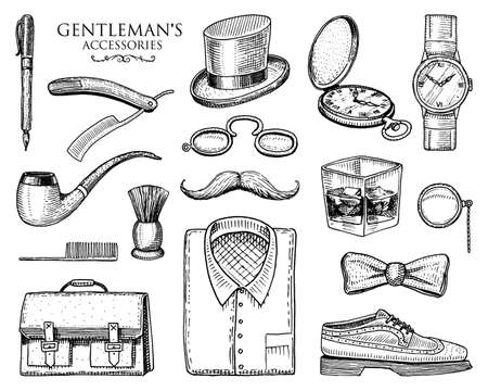 gentleman accessories. hipster or businessman, victorian era. engraved hand drawn vintage. brogues, mustache, shirt and cigar.