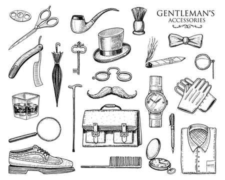gentleman accessories set. hipster or businessman, victorian era. engraved hand drawn vintage.