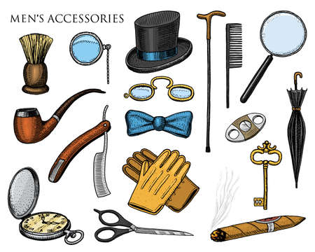 gentleman accessories. hipster or businessman, Victorian era. engraved hand drawn vintage. brogues, briefcase, mustache, shirt and cigar. cylinder hat, smoking pipe, straight razor, monocle.