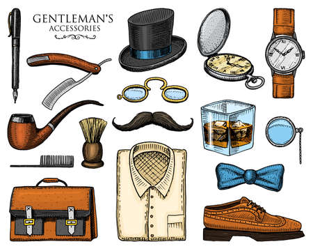 gentleman accessories. hipster or businessman, Victorian era. engraved hand drawn vintage. brogues, mustache, shirt and cigar. cylinder hat, smoking pipe, straight razor, monocle.