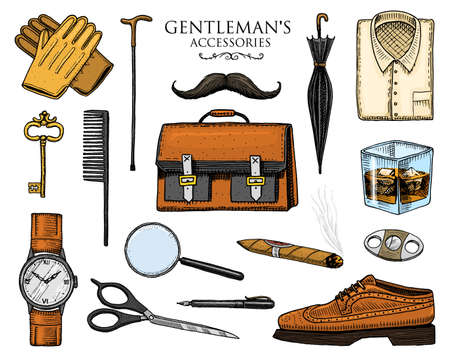 gentleman accessories set. hipster or businessman, victorian era. engraved hand drawn vintage. brogues, briefcase, shirt and cigar. cylinder hat, smoking pipe, straight razor, monocle, pince-nez Illustration