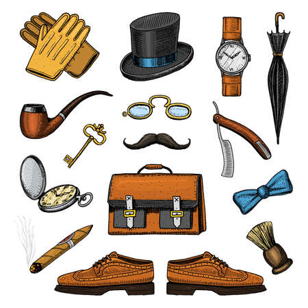 gentleman accessories set. hipster or businessman, victorian era. engraved hand drawn vintage. brogues, briefcase, shirt and cigar cylinder hat, smoking pipe, straight razor, monocle pince-nez Illustration