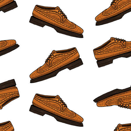 classic shoes seamless pattern or men accessory. engraved hand drawn in old vintage sketch. footwear or brogues, casual style