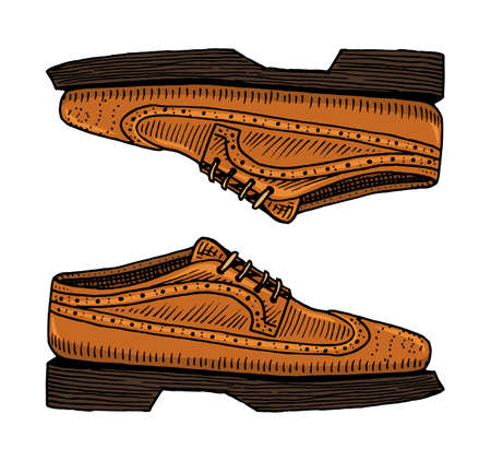 Classic shoes or men accessory. engraved hand drawn in old vintage sketch. footwear or brogues, casual style. Illustration
