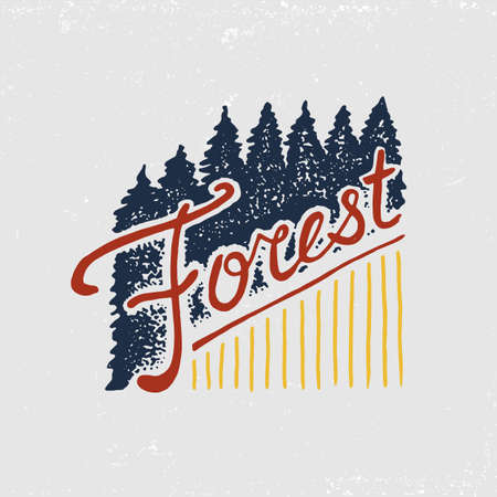 Coniferous forest, mountains and wooden icon. Camping and wild nature landscapes with pine trees and hills. Emblem or badge, tent tourist, travel for labels engraved hand drawn in old vintage sketch.