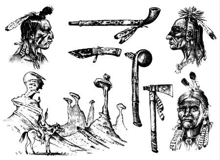 Indian traditions set. landscape with mountains. National American. Mace, feathers and Ax, chanunpa or tools. engraved hand drawn in old sketch. occultism, religion, spirituality, shamanism