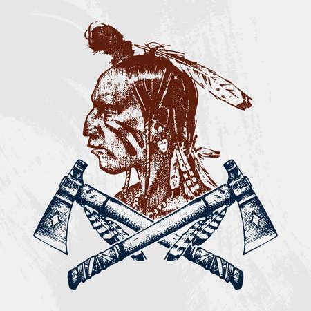 Tradizioni nazionali americane e indiane. Coltello e ascia, strumenti e strumenti. incisi disegnati a mano nel vecchio schizzo. un uomo con le piume in testa. emblema o logo Archivio Fotografico - 94479004