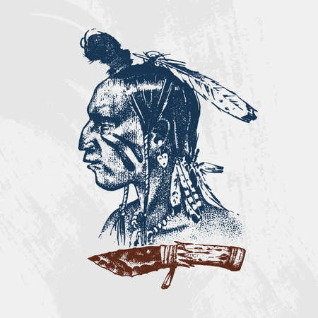 National American and Indian traditions. Knife and Ax, tools and instruments. Engraved hand drawn in old sketch. A man with feathers on his head.