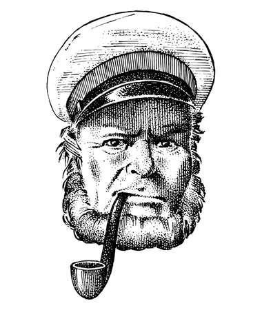 sea captain, marine old sailor with pipe or bluejacket, seaman with beard or men seafarer. travel by ship or boat. engraved hand drawn in old boho sketch