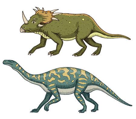 Dinosaur Triceratops, Barosaurus, Apatosaurus, Tenontosaurus Plateosaurus, broad lizard, Massospondylus, Diplodocus, Brachiosaurus, skeletons, fossils. Prehistoric reptiles, Animal Hand drawn vector