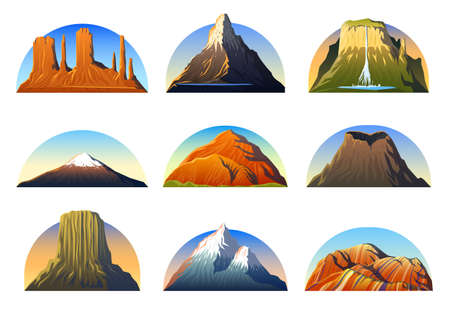 Mountains Peaks, landscape early in a daylight, big set. monument valley, matterhorn, roraima, fuji or vesuvius, devils tower, everest or rainbow.