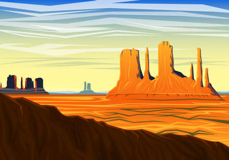 Morning panoramic view of peak early in a daylight. Illustration